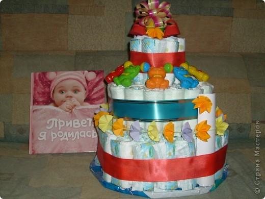 Тортик для внучки из памперсов