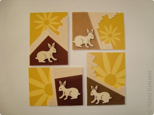 Для карточек использовала деревянные тонкие реечки, деревянных зайчиков, фетр, бумагу. Это моя первая попытка. Спасибо, Александра (k.aktus)! фото 2