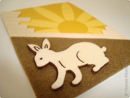 Для карточек использовала деревянные тонкие реечки, деревянных зайчиков, фетр, бумагу. Это моя первая попытка. Спасибо, Александра (k.aktus)! фото 4