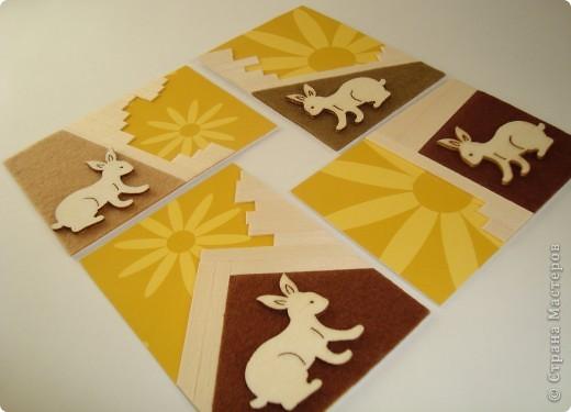 Для карточек использовала деревянные тонкие реечки, деревянных зайчиков, фетр, бумагу. Это моя первая попытка. Спасибо, Александра (k.aktus)! фото 1