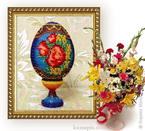 """сувенирное яйцо из бисера """"цветочное"""" фото 1"""