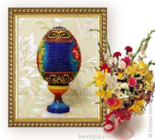 """сувенирное яйцо из бисера """"цветочное"""" фото 2"""