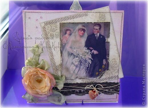 Привет!Ну вот я и в строю!В этот раз я к вам со свадебными коробочкой и открыточкой. фото 12