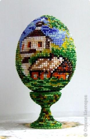"""сувенирное яйцо из бисера """"в берёзовой роще"""" фото 2"""