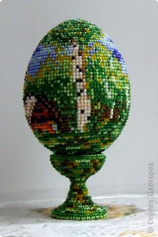 """сувенирное яйцо из бисера """"в берёзовой роще"""" фото 3"""