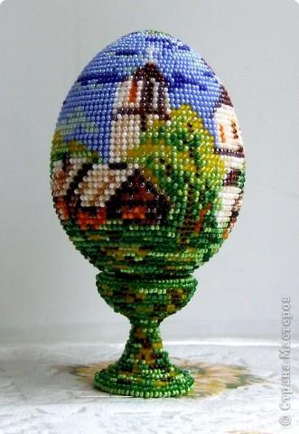 """сувенирное яйцо из бисера """"в берёзовой роще"""" фото 1"""