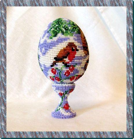 """сувенирное яйцо из бисера """"на лесной опушке"""" фото 2"""