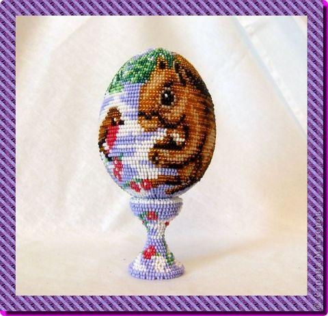 """сувенирное яйцо из бисера """"на лесной опушке"""" фото 4"""