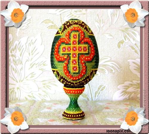 """сувенирное яйцо из бисера """"крест"""" фото 1"""