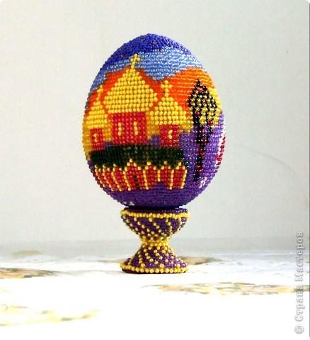 """сувенирное яйцо из бисера """"закат"""" фото 1"""