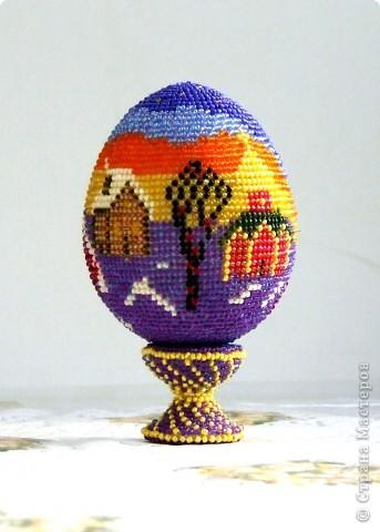 Поделка изделие Пасха Рождество Бисероплетение сувенирное яйцо из бисера закат Бисер фото 2.