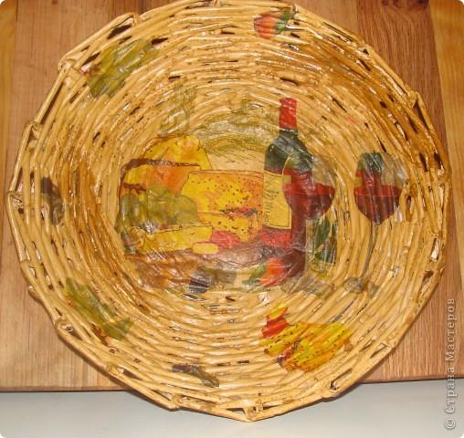 Еще одна плетеная тарелочка. фото 1