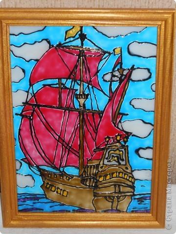 Морское дно, роспись по стеклу фото 2