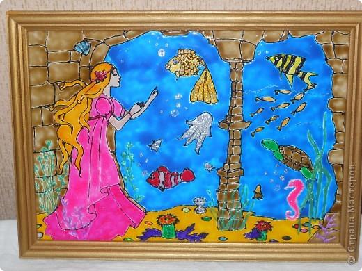 Морское дно, роспись по стеклу фото 1