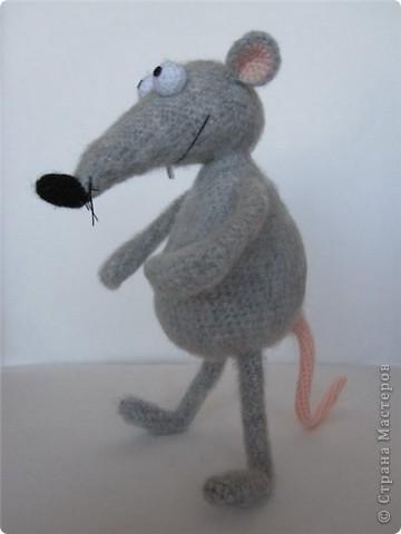 """В рамках игры """"Пришли мне игрушку"""" (на Сатилине) связались вот такие красавцы. Подобного котика я уже вязала, а вот крысик это мое новое творение! В лапках у крыса проволока. фото 3"""