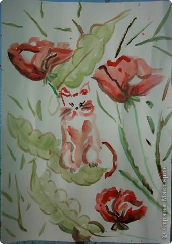 ребята все пожелали нарисовать котенка в цветах в японской технике. Это котенок Варвары Федоровой (6л) фото 2