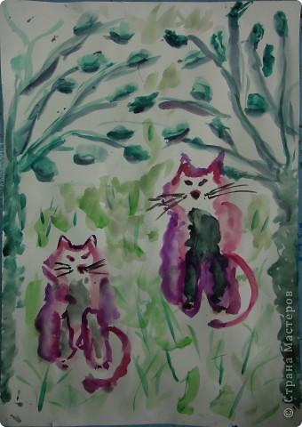 ребята все пожелали нарисовать котенка в цветах в японской технике. Это котенок Варвары Федоровой (6л) фото 3
