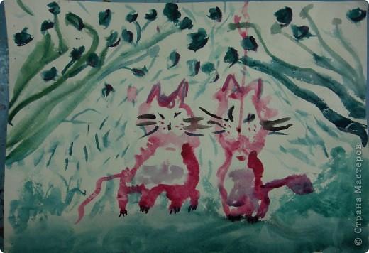 ребята все пожелали нарисовать котенка в цветах в японской технике. Это котенок Варвары Федоровой (6л) фото 4