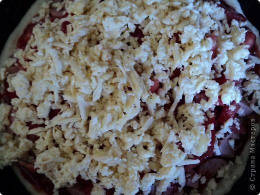 Сегодня нам захотелось пиццы!   Понадобилось: Тесто дрожжевое кетчуп (или томат) лук, морковка, подсолнечное масло (прожаренные вместе) сосиски (либо что угодно мясное, рыбное, а можно и грибы. Что душа Ваша пожелает!) помидор (нарезанный кубиками) сыр (можно даже плавленый сырок натертый на крупной терке) майонез зелень фото 6