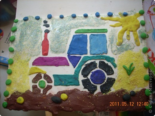 """Учимся рисовать пластилином.  Это работа моего младшего из мальчишек -) Старался всё делать сам, не смотря на всяческие мамины попытки """"помочь"""" ))) фото 5"""