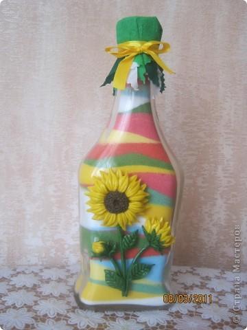 Мои бутылочки в подарки на 8 марта. Украшены цветочками из солёного теста, ну куда-же я без него!? фото 3