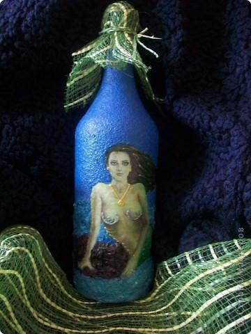 """Бутылка """"Русалка"""", которая была нарасхват))) Делала по уроку девочки из интернета.  фото 1"""
