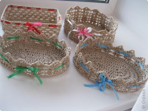 Конфетницы,шкатулки связанные крючком шпагатной веревкой. фото 1
