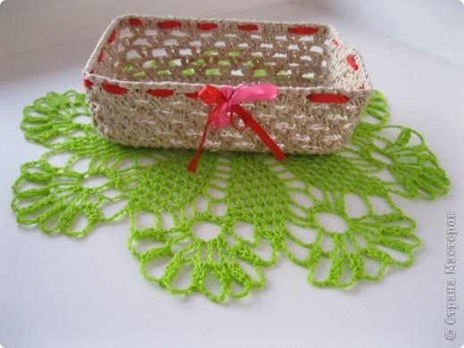 Конфетницы,шкатулки связанные крючком шпагатной веревкой. фото 5