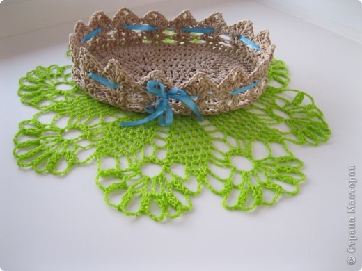 Конфетницы,шкатулки связанные крючком шпагатной веревкой. фото 3