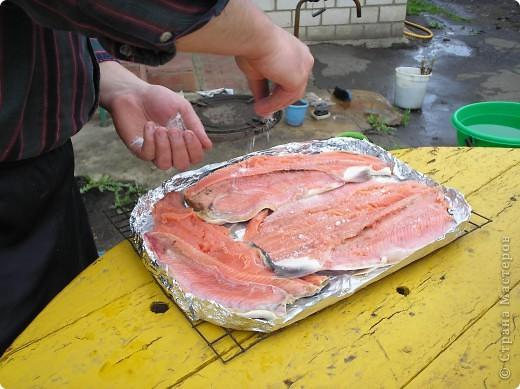 Мы  очень любим это вкусное блюдо, делаем на все праздники, рыба получается сытная, пахнет дымком. Пальчики оближешь. Делается очень бысто. Это коронное блюдо моего папы. Именно эту рыбку мы ели на мое день рождение. Приятного аппетита!  фото 6