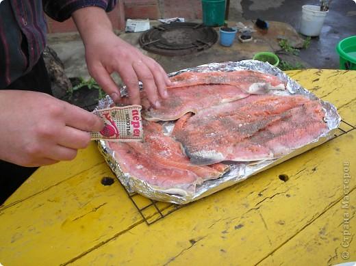 Мы  очень любим это вкусное блюдо, делаем на все праздники, рыба получается сытная, пахнет дымком. Пальчики оближешь. Делается очень бысто. Это коронное блюдо моего папы. Именно эту рыбку мы ели на мое день рождение. Приятного аппетита!  фото 7