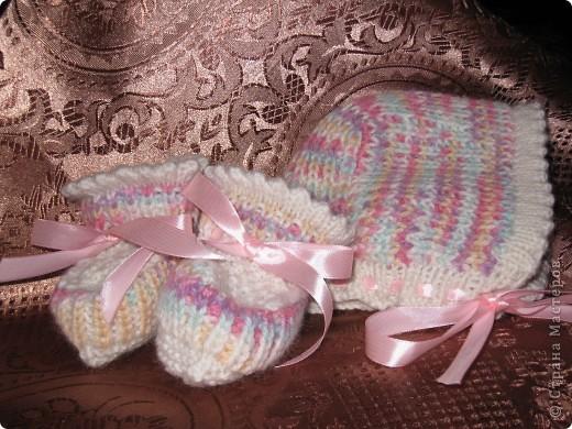Кофточка и пинетки для Машеньки-дочурки друзей. фото 6