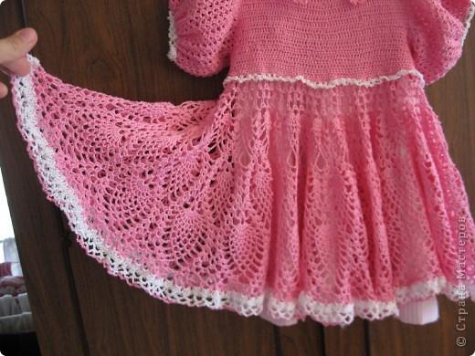 Поделка изделие Вязание Вязание крючком Платье для девочки Нитки фото 2