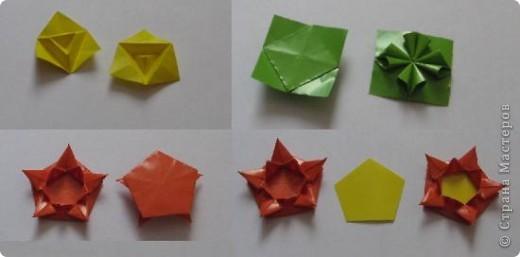 Использовала 20 треугольных модулей (модуль кусудамы Астра), 30 четырехугольных (модуль кусудамы Loop)...