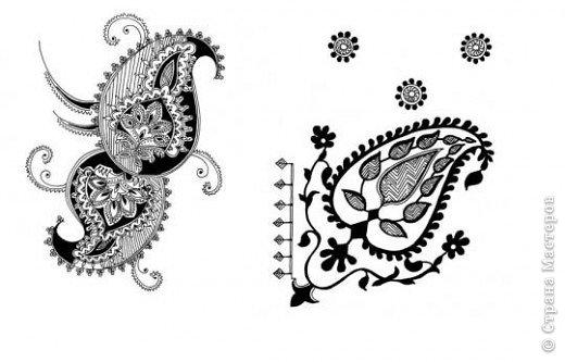 """Очень многие увлекаются росписью хной по телу рисуют различной сложности узоры, орнаменты, а кто-нибудь задумывался, что означают те или иные символы. Давайте немного углубимся и узнаем тайны наших с вами рисунков. Сегодня рассмотрим значение узоров в Индии .  Менди-индийское название хны. Роспись по телу с помощью хны представляет собой духовную и терапевтическую процедуру, вот почему менди никогда не наносят в спешке. В индийской культуре огромное значение имеет символизм и менди тоже говорит на языке символов. Рисунки хной, которые делают в Индии и Пакистане, самые сложные в мире. В наиболее популярных из них используется узор с """"огурцами"""". фото 2"""