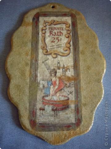 Вот такая табличка для душа на даче получилась - купила прикольную рисовую карту.