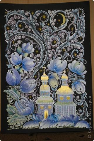 """Одна из последних моих работ, выполненная в стиле украинской петриковской росписи, называется """"Казковий птах"""".Согласитесь, что есть в этих фантастических, нереальних, """"петриковских"""" птицах какая-то притягательная тайна, они из детства, когда все было ярко, живо, празднично.  фото 3"""