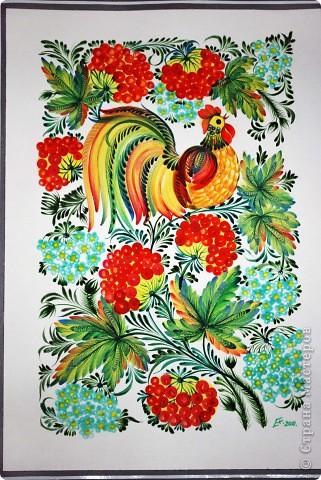 """Одна из последних моих работ, выполненная в стиле украинской петриковской росписи, называется """"Казковий птах"""".Согласитесь, что есть в этих фантастических, нереальних, """"петриковских"""" птицах какая-то притягательная тайна, они из детства, когда все было ярко, живо, празднично.  фото 2"""