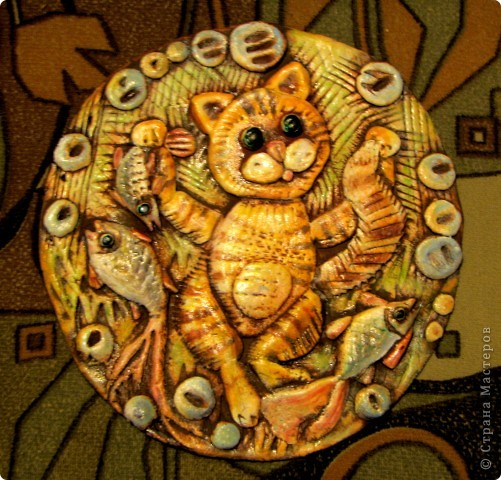 Котик с рыбками из солёного теста