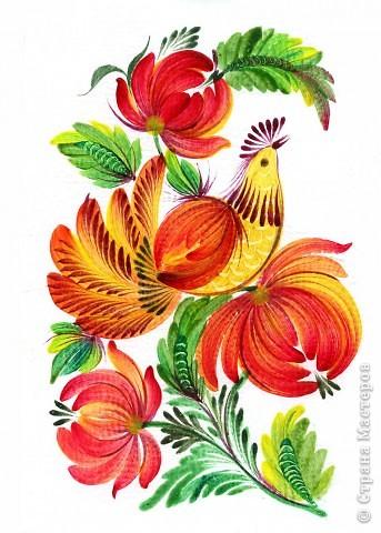 """Одна из последних моих работ, выполненная в стиле украинской петриковской росписи, называется """"Казковий птах"""".Согласитесь, что есть в этих фантастических, нереальних, """"петриковских"""" птицах какая-то притягательная тайна, они из детства, когда все было ярко, живо, празднично.  фото 4"""