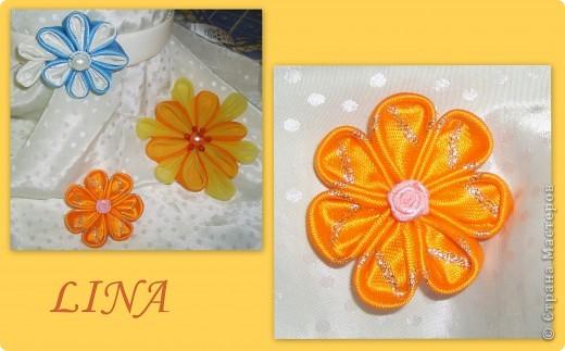 Самый первый был бело-голубой цветочек,поэтому он такой и неказистый:)  бело-голубой и маленький оранжевый из атласных лент фото 1