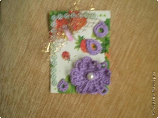"""Серия """"""""Ситец"""". Использовала картон, обклеенный салфетками, вязанные цветочи-лепесточки, ну и дополнила разлиными добавками фото 2"""