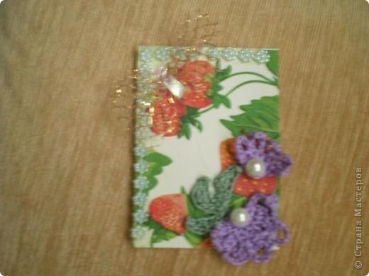 """Серия """"""""Ситец"""". Использовала картон, обклеенный салфетками, вязанные цветочи-лепесточки, ну и дополнила разлиными добавками фото 4"""