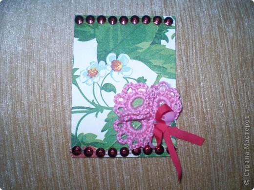 """Серия """"""""Ситец"""". Использовала картон, обклеенный салфетками, вязанные цветочи-лепесточки, ну и дополнила разлиными добавками фото 5"""