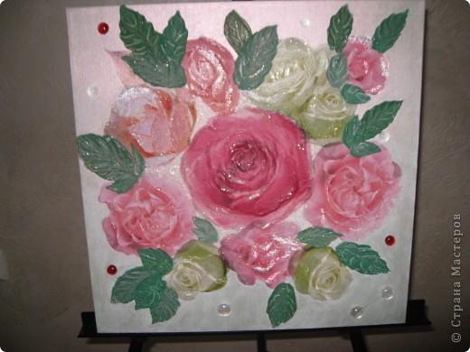 """Декоративное панно """"Розовый букет"""" фото 1"""