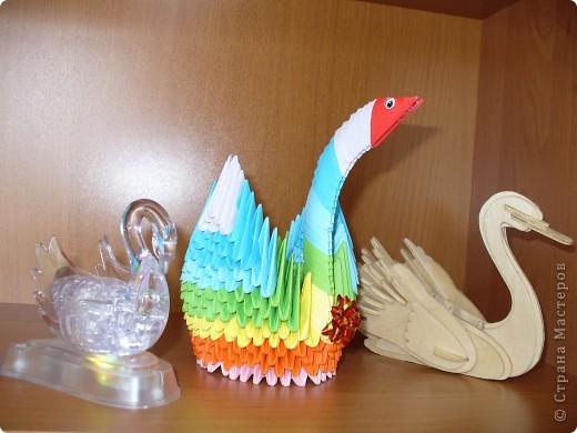 Этот радужный лебедь был сделан по МК Татьяны Просняковой http://stranamasterov.ru/technic/swan фото 4