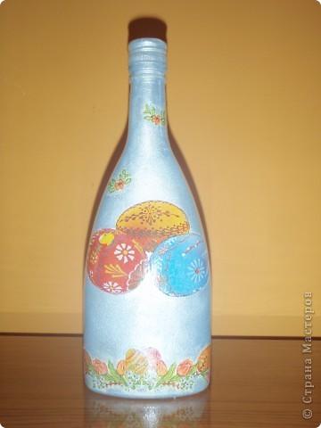Такие  пасхальные бутылочки делала на праздник.Давно хотела выставить всё руки не доходили..... фото 4