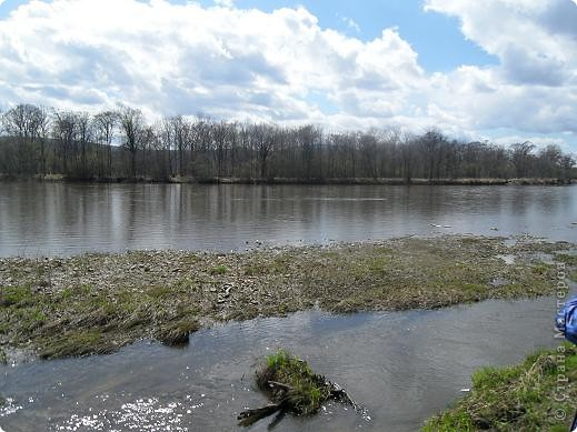 Что-то долго к нам нынче весна добирается. Где это она потерялась... Может поискать, поторопить? Решено, идем за весной. Благо, далеко не надо топать- 10 минут и мы с детьми на реке Бира. Лес еще голый, вода студеная... брррр фото 1