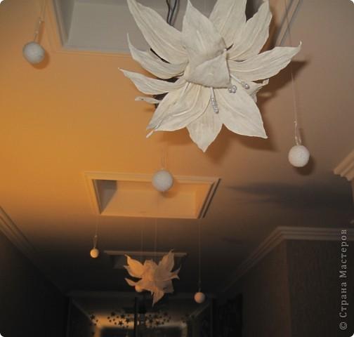 """Собралась к Новому году украшать квартиру,перерыла оочень много информации в интернете и нашла вот такую вот """"гирлянду"""" назовем ее так ))) которую и воплотила в жизнь. Цветочки висят и сейчас, работа получилась и выглядит всесезонно, радует глаз )))  фото 1"""