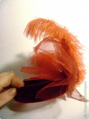 Обруч обтянут красным бархатом. Лучше всего брать обруч по шире. Перья страусиные. Выдранны из маски по 100р. фото 2